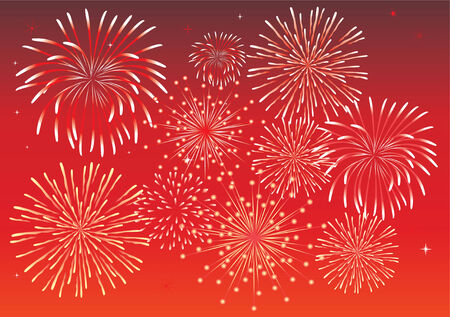 red fireworks Stock Vector - 7216422