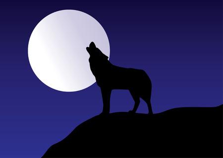 Wolf howling op de maan