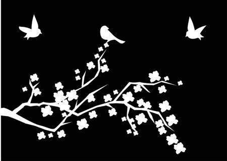 white cherry brunch with birds