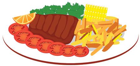 steak plate: plato de comida