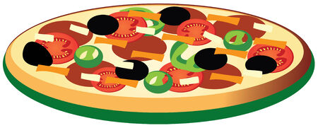 plate of food: pizza Illustration
