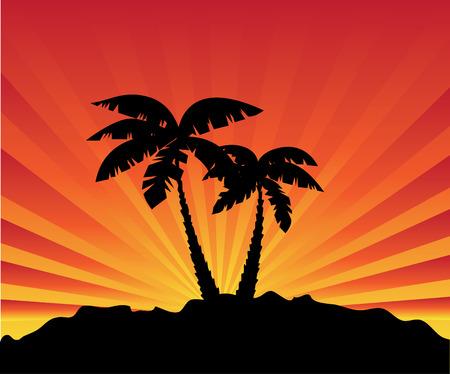 Palm bij zons opgang  Stock Illustratie