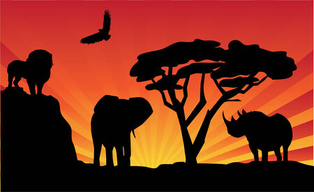 kenya: african landscape Illustration
