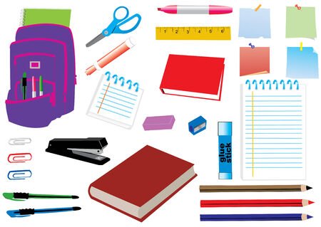 school or office supplies Illustration