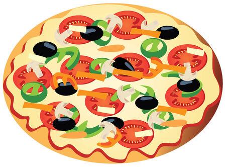 hot plate: pizza vegetariana  Vectores