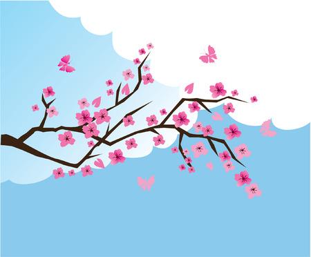Cherry branch in bloei Stock Illustratie