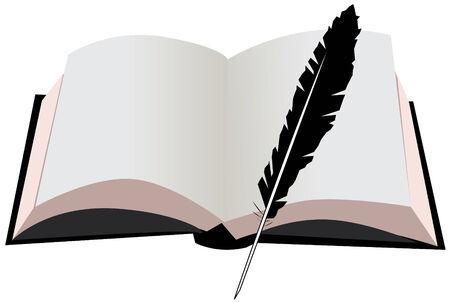 open boek en een veer