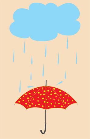 雨の中傘  イラスト・ベクター素材