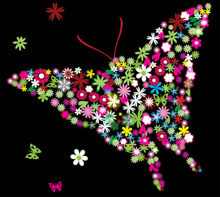 butterfly background: vector floral butterfly Illustration