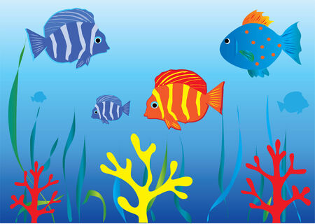 aquarium with tropical fish Ilustracja