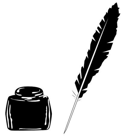 pluma de escribir antigua: tinta negra y una pluma