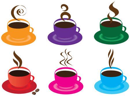 chicchi caff� su sfondo bianco: Vector fumante tazze di caff�