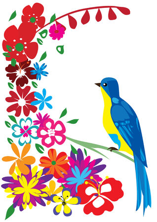 red wallpaper: vector blue bird and flowers