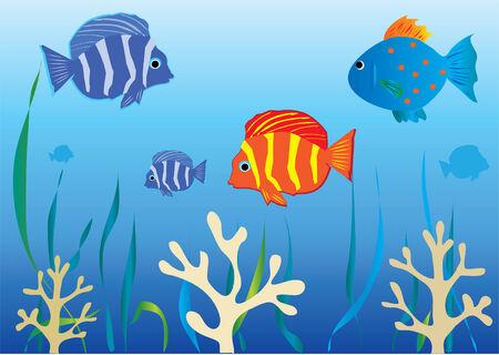 onderwater achtergrond met tropische vissen en koralen Stock Illustratie