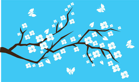cherry branch with butterflies Vector