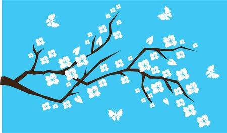 cherry branch with butterflies Vector