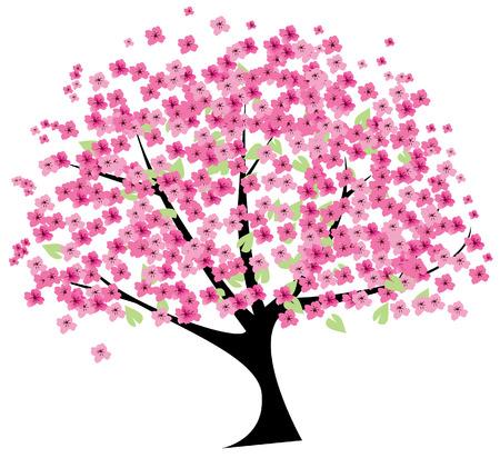 Cherry boom in bloei Vector Illustratie