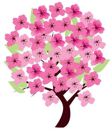 cherry tree in blossom Ilustração