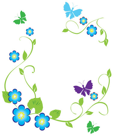 floral frame with butterflies Stock Vector - 7898151