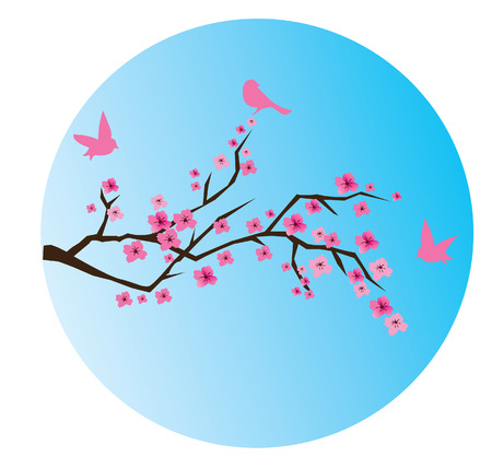 cherry blossom and moon background Stock Vector - 7898155