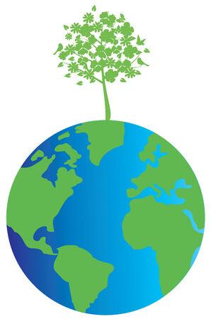 eco world globe with green tree Vector