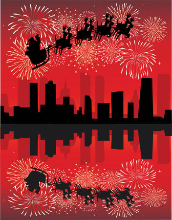 holiday background with santa and fireworks Stock Vector - 7898186