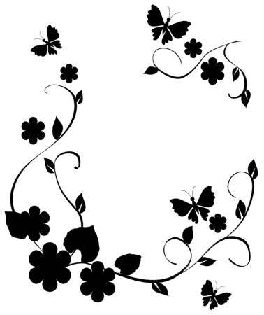 black swirl: floral frame with butterflies