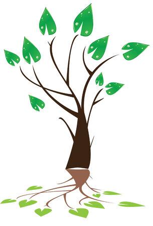 tree with reflection Illusztráció