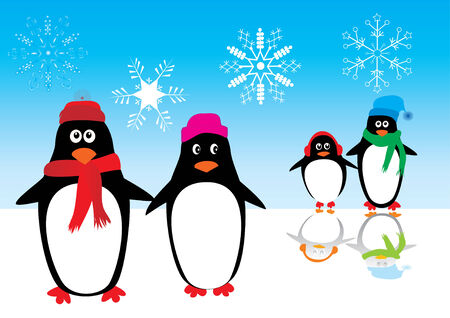 family holiday: penguin family on ice with reflection Illustration