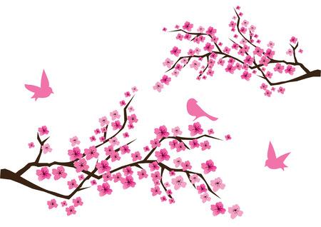 kersenboom: cherry blossom met vogels Stock Illustratie