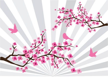 cherry blossom with birds Stock Vector - 7933160
