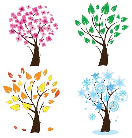 seizoen bomen  Stock Illustratie