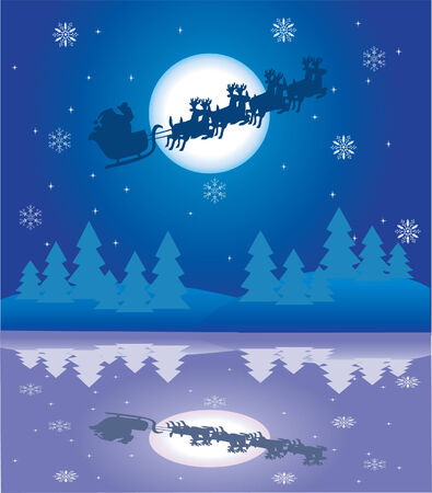 holiday background with santa and reflection Stock Vector - 8002546