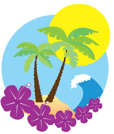 palmtrees: beach Illustration