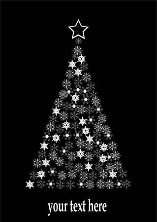 holiday tree made of snowflakes Ilustração