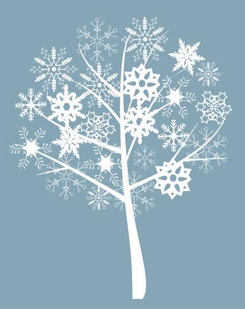 snow tree with snowflakes Illustration