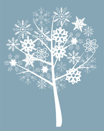 snow tree with snowflakes Vector