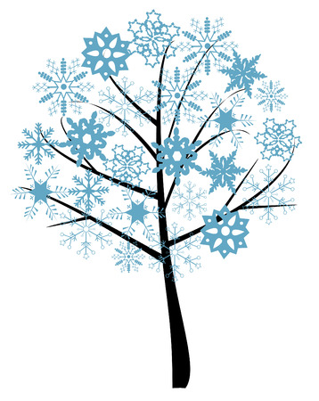 snow tree with snowflakes Vectores