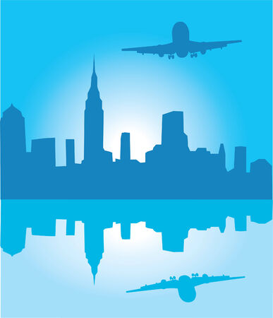 city background with a plane and reflection Stock Vector - 8002573
