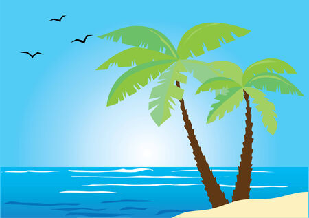 beach with palms and ocean Иллюстрация
