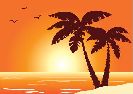 strand met palm bomen en Oceaan  Stock Illustratie