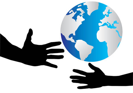 helping hand and the earth Vector