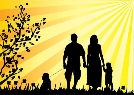 family grass:  familia feliz y un perro