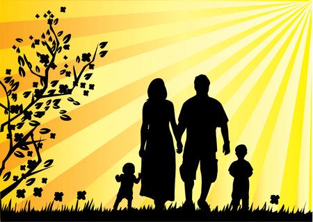 family grass: familia feliz Vectores