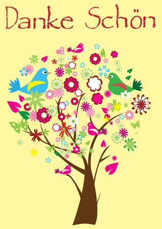 Bed ank kaart met bloemen boom