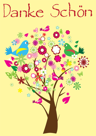 thank you card with floral tree Vector