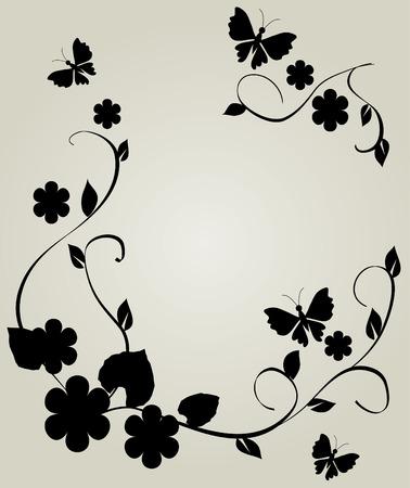 bloemen frame met vlinders