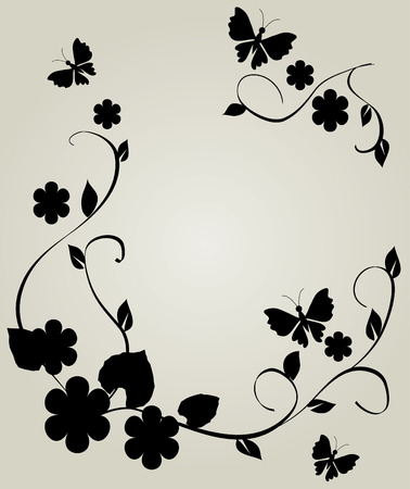floral frame with butterflies Vector