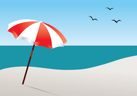 beach with umbrella Vector