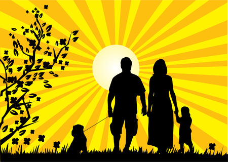 children silhouettes: happy family
